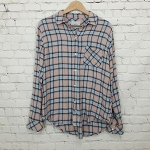 Rails Plaid Flannel Button Down Shirt Pink Small